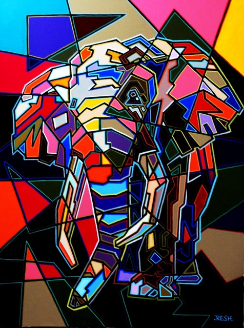 Yosef Reznikov  'Composition Elephant', created in 2020, Original Painting Other.
