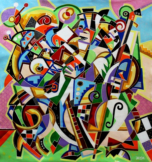 Yosef Reznikov  'Composition Musicians', created in 2019, Original Painting Other.