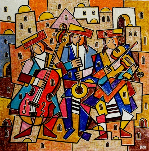 Yosef Reznikov  'Musicians In Zfat', created in 2018, Original Painting Other.