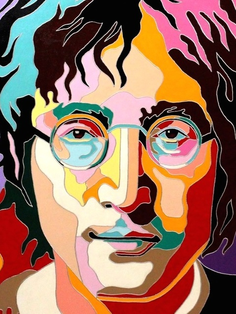 Yosef Reznikov  'Portrait Of John Lennon', created in 2019, Original Mixed Media.