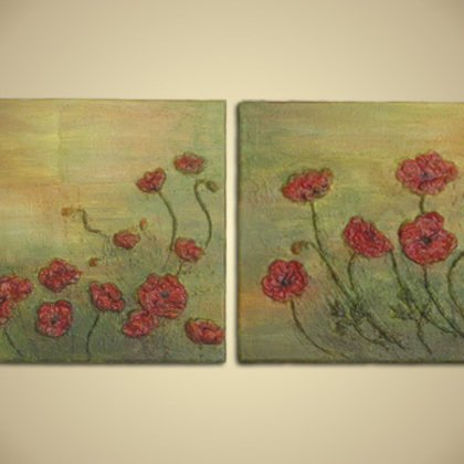 , Set Of 2 Red Popies 3d Re, Floral, Sold