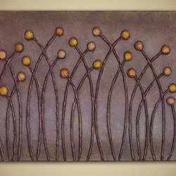 , Golden Meadow In Purple H, Abstract, Sold