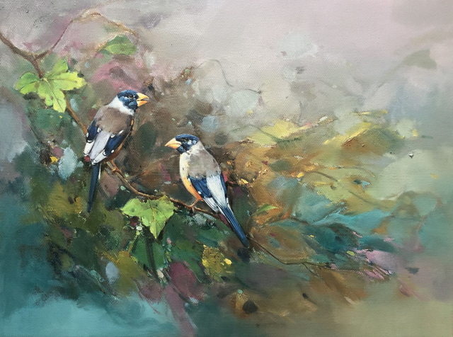Jinsheng You  'Birdies On The Branch 592', created in 2019, Original Painting Oil.
