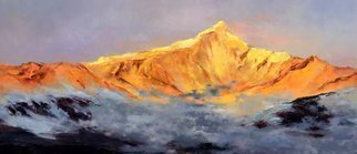 Jinsheng You: 'golden splendid mountain 452', 2019 Oil Painting, Landscape. This is an original unique oil painting on canvas. The work was signed in the back by the artist. It will be rolled in a tube for shipping. ...