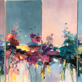 Jinsheng You: 'original waterlilies 188', 2017 Oil Painting, Floral. Artist Description: The waterlily is the artists favourite flower and It represents elegance in the Chinese culture. It grows in dirty silt but is very beautiful and clean, so it represents a spirit in orient culture. Due to long distance from China, the painting will be rolled in a tube ...