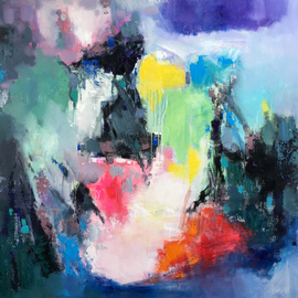 Jinsheng You: 'party 441', 2019 Oil Painting, Abstract. Artist Description: I d like to express my emotion with vibrant colors and unique brush. This is an original abstract oil painting on canvas, it is one- of- kind, i have got it done recently.Due to long distance, the painting will be rolled in a tube for shipping, without ...