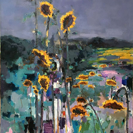 Jinsheng You Artwork sunflowers , 2016 Oil Painting, Floral