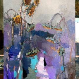 Jinsheng You Artwork sunflowers 003, 2016 Oil Painting, Floral