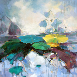 Jinsheng You Artwork waterlily 143, 2016 Oil Painting, Floral