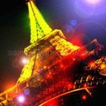 Night Eiffel Tower Blue Light Very Colorful Artwork, Andrew Young