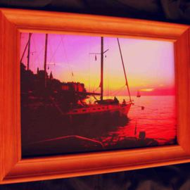 Sunset Ships at Rovjni Croatia very colordul artwork