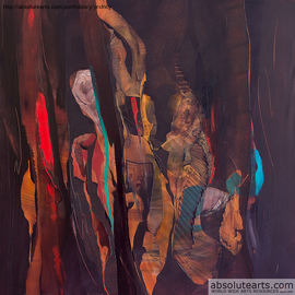 Nicholas Down: 'Dark Cello', 2013 Oil Painting, Abstract. Artist Description:   Oil on Gesso Panel                                    ...