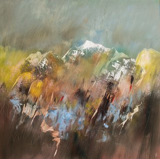 Nicholas Down: 'giving way to spring', 2018 Oil Painting, Abstract Landscape. Oil on Gesso Panel...