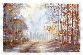 Yulia Schuster: 'autumn blues', 2016 Watercolor, Landscape. Artist Description: This is one of my original fine art landscape watercolour paintings. Using artists  quality paints and paper. It is signed and dated on the front autumn colours  landscape painting  season painting  watercolor landscape painting  watercolor landscape  watercolor on paper autumnautumnalforestlandscapeparkreflectionroadseasonalsunshine...