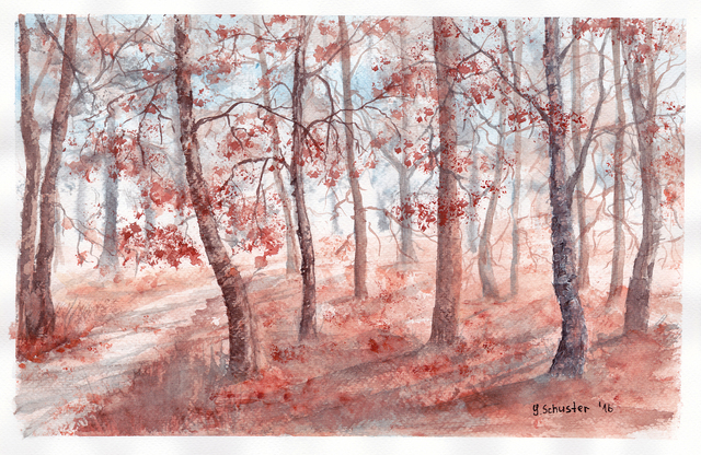 Yulia Schuster  'Autumn Forest', created in 2016, Original Watercolor.