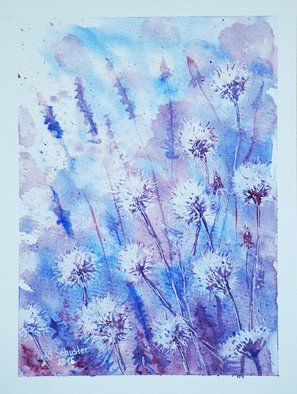 Yulia Schuster: 'dandelions', 2016 Watercolor, Floral. Artist Description: This is one of my watercolour paintings. Using artists  quality paints and paper. It is signed and dated on the front abstract flowers  daisies wilsflowers  field flowers  original watercolor  rural landscape  watercolor flowers bluedaisiesdandelionsfieldsflowerswatercolor...