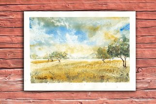 Yulia Schuster: 'heat', 2016 Watercolor, Landscape. Artist Description: This is one of my watercolour landscape paintings. COMES UNFRAMEDUsing artists  quality paints and paper. It is signed and dated on the front  original watercolor  rural houses  rural landscape  watercolor landscape autumnautumnalbluefamilyfieldsharvesthouselandscapemontainsmountainpeopleroadruralsavannahtreevilage...