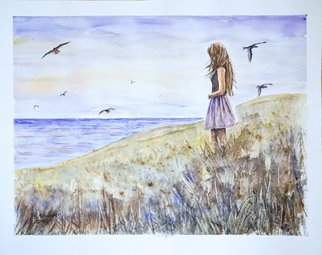 Yulia Schuster: 'nostalgia', 2016 Watercolor, People. Artist Description: This is one of my original fine art watercolour paintings. Using artists  quality paints and paper. It is signed and dated on the front beach scene  landscape painting  season painting  watercolor landscape painting  watercolor landscape  watercolor on paper birdbluechildchildhoodgiftgirllandscapelovenostalgiaocean...