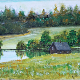 Yulia Schuster: 'on the lake', 2016 Oil Painting, Landscape. Artist Description: Landscape painting . Oil on canvas. Ready to hangIt is signed and dated on the front  lake district  oil landscape painting  oil landscapes  oil painting  pastel landscape  pastel on paper  rural life fieldfieldsgrasshauselandscapenatureroadruralseasonalskysummertreewater...