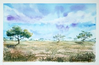 Yulia Schuster: 'savannah', 2016 Watercolor, Landscape. Artist Description: This is one of my watercolour landscape paintings. COMES UNFRAMEDUsing artists  quality paints and paper. It is signed and dated on the front  original watercolor  rural houses  rural landscape  watercolor landscape autumnautumnalbluefamilyfieldsharvesthouselandscapemontainsmountainpeopleroadruralsavannahtreevilage...