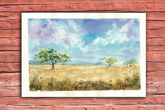 Yulia Schuster: 'savannah 2', 2016 Watercolor, Landscape. Artist Description: This is one of my watercolour landscape paintings. COMES UNFRAMEDUsing artists  quality paints and paper. It is signed and dated on the front ...