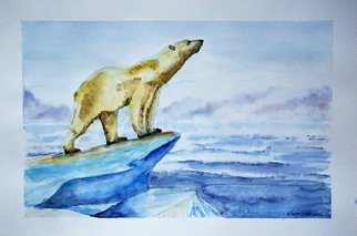 Yulia Schuster: 'the king of north', 2016 Watercolor, Animals. Artist Description: This is one of my original fine art watercolour paintings. Using artists  quality paints and paper. It is signed and dated on the front  animal art  blue landscape  north landscape  polar area  polar bear  polar landscape  watercolor animal art  watercolor painting animalbearnorthwatercolour...