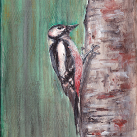Yulia Schuster: 'woodpecker acrylic on canvas', 2016 Acrylic Painting, Birds. Artist Description: WoodpeckerAcrylic painting on a 380 g m  stretched canvas. Size: 18 cm   24 cm. Great for decorating small areas of your home, office, or create gallery wall. Ready to hang. acryl on canvas  woodpecker tree acrylacrylicanimalbirdforestgreentreewoodland...