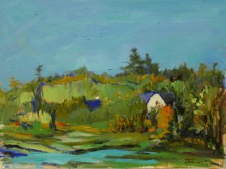 Yuming Zhu: 'Aquatic Beauty', 2017 Oil Painting, Landscape. Artist Description: Plein air, oil on canvas, framed and ready to hang.  A patch of water reflects the fresh sky.  Wondering who is working in the barn.  Serene and birds singing in distance. ...