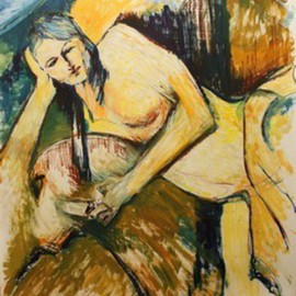 Yuming Zhu: 'CP On Phone Cezanne', 2010 Oil Painting, Figurative. Artist Description:  Original oil on paper.  I like the straight and curve lines.  What do you thinkI never know Cezanne could be that influential. ...