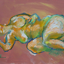 Yuming Zhu: 'Reclining Beauty', 2006 Oil Painting, Nudes. Artist Description: Original Oil bar and pastel on board.  Representational, impressionistic and expressive figure.Framed in wood frame. ...