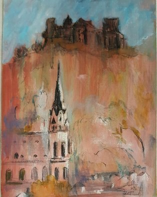 Yuming Zhu: 'castles alongside rhine river', 2016 Mixed Media, Landscape. Artist Description: This painting is done with pen, pastel and watercolor wash. Rhine River beauties and historical buildings add great vitality to even nowadays living. Framed and will be shipped with glass in. ...