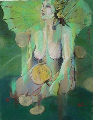 Yuming Zhu: 'new madame butterfly', 2015 Pastel, Figurative. Puchinni ever dreamed  to compose this Madame in Spring time  Color and new twisted concept chanllenging my mind to painting umbrella and Japanese motifs. ...