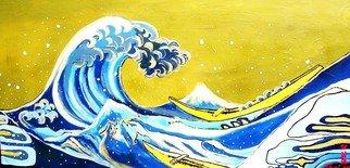 Landscape Acrylic Painting by Yuri Miku Title: Tsunami at Mt Fuji, created in 2008