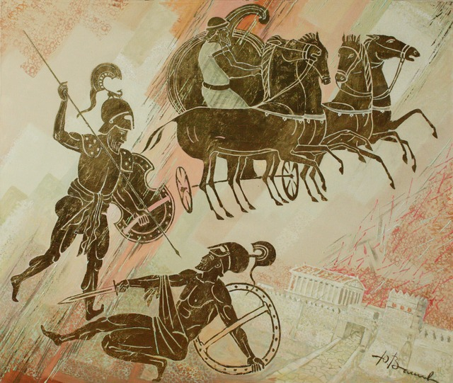 Yuri Vasiliev  'Battle Of Achilles And Hector', created in 2012, Original Painting Oil.