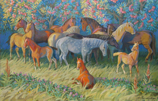 Yuri Vasiliev Artwork horses in the garden, 2009 Oil Painting, Animals