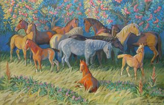 Yuri Vasiliev: 'horses in the garden', 2009 Oil Painting, Animals. Artist Description: Horses, foals, sun, apple, garden, good mood, time August...