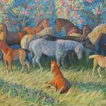 horses in the garden By Yuri Vasiliev