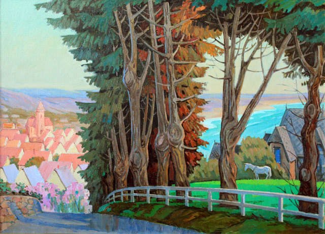 Yuri Vasiliev  'Old Pines In Cartare', created in 2009, Original Painting Oil.