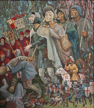 Yuri Vasiliev Artwork the blind lead the blind, 2016 Oil Painting, Biblical