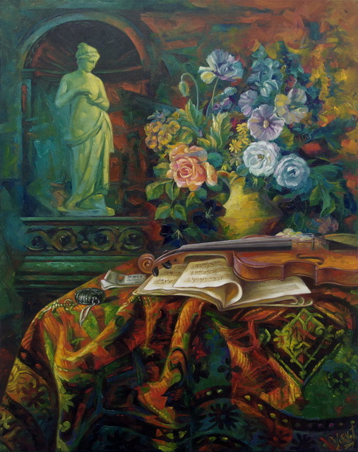 Yury Fomichev  'Still Life With A Violin', created in 2009, Original Painting Oil.