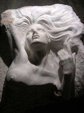 Zamin Hussain: 'the dying mermaid', 2009 Stone Sculpture, Figurative.