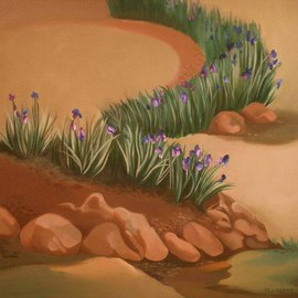Terry Zarate Artwork Iris Garden, 2008 Oil Painting, Botanical