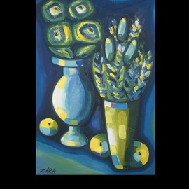 Zara Gasparyan: 'BLUE  MOOD', 2007 Oil Painting, Still Life. Artist Description:  Flowers, fruits. ...