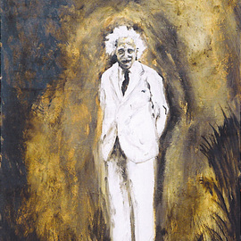 Rickie Dickerson: 'Albert  2', 1999 Oil Painting, Portrait. Artist Description:       One of my favorite people. . . I love a smiling Einstein. ...