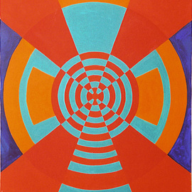 Rickie Dickerson: 'Bullseye', 2000 Oil Painting, Geometric. Artist Description:   I was a draftsperson. . .  ...