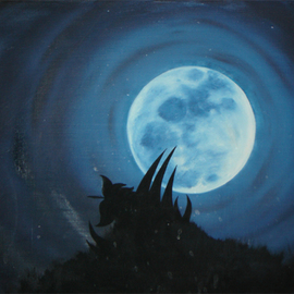 Rickie Dickerson: 'Claw Moon', 1995 Oil Painting, Meditation. Artist Description: I taught myself to paint. . . this is one of the ways I did it. I would obsess on something ( like the moon) and paint and give them away until they were