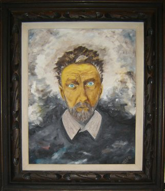 Rickie Dickerson: 'EzraPoundOnTheDayHeWasCommitted', 1996 Oil Painting, Portrait.    Ezra Pound was an American poet who lived in Italy during WWII. He agreed with Mussolini and was the Tokyo Rose of Europe. He attracted very little attention because he was considered a bad poet. An American politician went to Italy, heard a broadcast and had Pound extradited and prosecuted...
