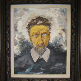 Rickie Dickerson: 'EzraPoundOnTheDayHeWasCommitted', 1996 Oil Painting, Portrait. Artist Description:    Ezra Pound was an American poet who lived in Italy during WWII. He agreed with Mussolini and was the Tokyo Rose of Europe. He attracted very little attention because he was considered a bad poet. An American politician went to Italy, heard a broadcast and had Pound extradited ...