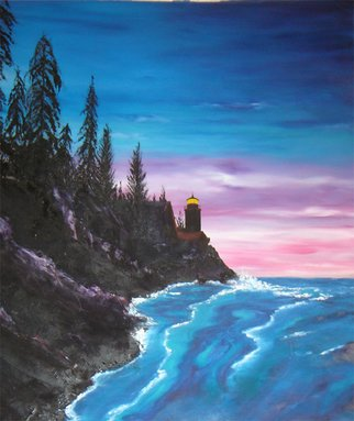 Rickie Dickerson: 'Lighthouse', 1997 Oil Painting, Landscape.      One of my 'learning to paint' works. . . my friend Jenafer liked it.  ...