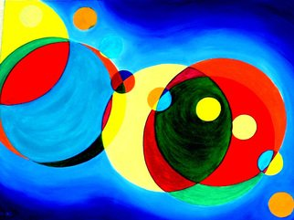 Rickie Dickerson: 'More Circles', 1994 Oil Painting, Geometric.    I was a draftsperson, I couldn't get away from strict forms and knew nothing of masking compounds. I struggled with every line.  ...